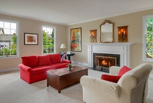 Traditional Living Room with Crown molding, Carpet