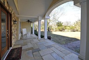Eclectic Porch with exterior stone floors, French doors, Wrap around porch