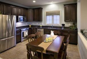Traditional Kitchen with Raised panel, Simple granite counters, Breakfast nook, Simple Granite, L-shaped, Undermount sink
