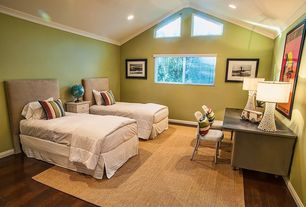 Contemporary Guest Bedroom with Hardwood floors, Carpet, picture window, Crown molding, no bedroom feature, specialty window