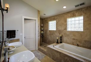 Modern Full Bathroom with Bathtub, can lights, partial backsplash, High ceiling, Vessel sink, Vinyl floors, Corian counters