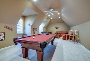 Eclectic Game Room with High ceiling, Casement, Carpet, can lights, Ceiling fan
