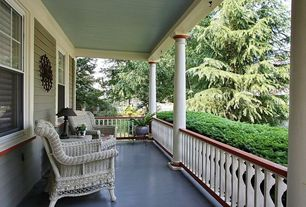 Traditional Porch with exterior tile floors, Wrap around porch, Pier 1 Sunset Pier Dining Chair Gray
