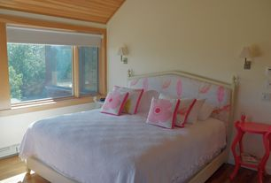 Modern Kids Bedroom with Hardwood floors, Standard height, picture window, Wall sconce, Casement