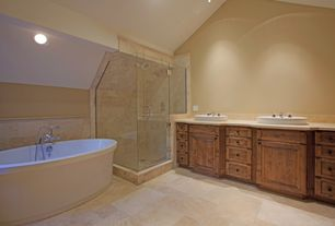 Craftsman Master Bathroom with Master bathroom, Double sink, Flat panel cabinets, High ceiling, Simple Marble