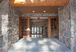 Rustic Front Door with Shoji door, exterior stone floors, Transom window