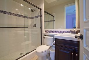"Modern 3/4 Bathroom with Raised panel, Virtu victoria 49"" single bathroom vanity set, Built-in bookshelf, Ceramic Tile"