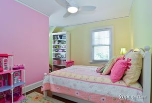Country Kids Bedroom with Standard height, double-hung window, Ceiling fan, Hardwood floors, Crown molding, flush light