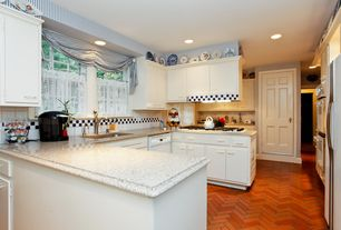 Country Kitchen with dishwasher, double wall oven, stone tile floors, electric cooktop, Standard height, Paint, gas range