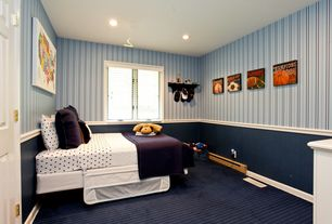 Modern Kids Bedroom with interior wallpaper, Chair rail, can lights, Carpet, Standard height, six panel door, Casement
