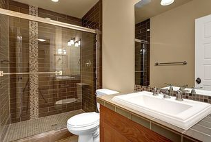 "Contemporary Full Bathroom with The bella collection 4"" x 2"" glass tile in dk chocolate, Ceramic Tile, Powder room"
