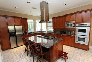 Modern Kitchen with Complex Granite, IVC Venturi 532 Tile Low-Gloss Finish Sheet Vinyl, L-shaped, Kitchen island