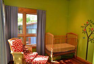 Modern Kids Bedroom with Paint 1, no bedroom feature, specialty window, Standard height, Mural, Hardwood floors