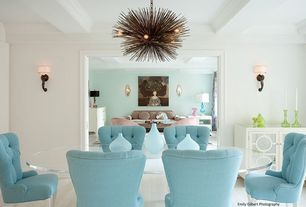 Contemporary Dining Room with Worlds away barkley chest, Z gallerie blue cloud vases, Chandelier, Box ceiling, Carpet