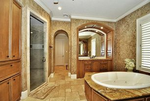 Mediterranean 3/4 Bathroom with Undermount sink, Jetted, frameless showerdoor, Crown molding, interior wallpaper