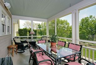 Traditional Porch with Deck Railing, Paint 2, Paint 1, Sun room, picture window, Screened porch, double-hung window