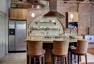 Eclectic Kitchen with Exposed brick wall, Concrete countertops, Pental BOTTICINO Quartz, One-wall, Kitchen island, Flush
