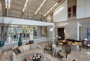 Contemporary Great Room with Sunken living room, Laminate floors, Cathedral ceiling, Skylight, Exposed beam, Loft