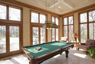 Traditional Game Room with Box ceiling, Crown molding, Pendant light, French doors