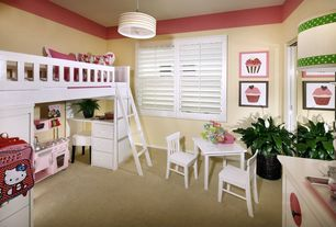 Contemporary Kids Bedroom with Solutions by kids r us table and chair set - white, flush light, Bunk beds, Carpet
