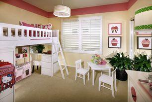 "Contemporary Kids Bedroom with flush light, Stacy garcia landscape stripe giclee glow 10 1/4"" pendant, Casement, Bunk beds"