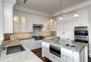 Traditional Kitchen with Crown molding, Kitchen island, Ceramic Tile, Undermount sink, Marble.com Azul Titanium Granite