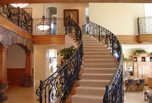 Craftsman Staircase with High ceiling, Carpet, Pendant light, Metal staircase