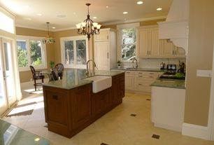 Country Kitchen with full backsplash, Crown molding, Raised panel, Glass Tile, electric cooktop, Simple granite counters