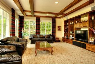 Craftsman Living Room with Exposed beam, can lights, Standard height, specialty window, Carpet
