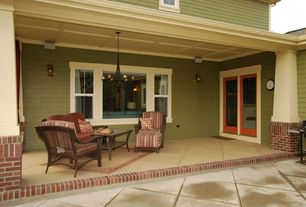 Craftsman Porch with Wall sconce, Standard height, picture window, double-hung window, French doors, Paint, Chandelier