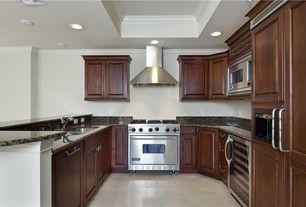 Modern Kitchen with Simple granite counters, Raised panel, U-shaped, Crown molding, Ms international tan brown granite