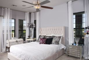 "Contemporary Guest Bedroom with Wilton Mirrored 3-Drawer Accent Chest, flush light, 44"" Casa Habitat Steel Hugger Ceiling Fan"