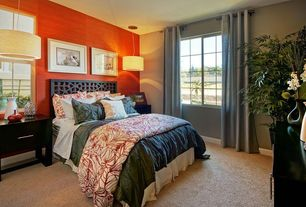 Contemporary Guest Bedroom with Carpet, Pendant light