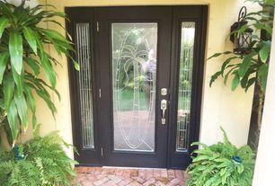 Tropical Front Door with exterior brick floors, Glass panel door