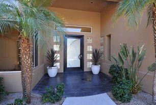 Modern Front Door with exterior terracotta tile floors, exterior tile floors, picture window, Shoji door
