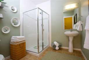 Contemporary Full Bathroom with West Elm Convex Mirrors (Discontinued), Gerber Maxwell Pedestal Combo Bathroom Sink