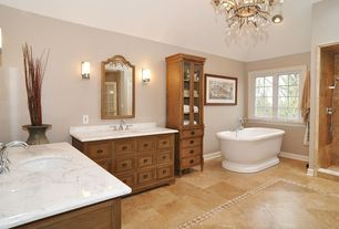 Country 3/4 Bathroom with Bathtub, Wall sconce, Casement, Chandelier, Vinyl floors, Complex Marble, Inset cabinets, Shower
