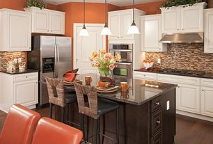 """Modern Kitchen with Raised panel, Simple granite counters, Whirlpool WOC95EC0AS 30"""" Microwave Combination Wall Oven, L-shaped"""