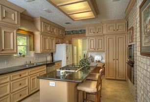 Country Kitchen with Breakfast bar, Subway Tile, Skylight, Raised panel, Kitchen island, U-shaped, Crown molding