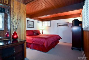 Craftsman Guest Bedroom with Exposed beam, Carpet, Standard height