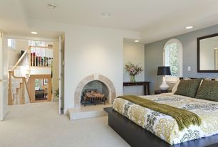 Modern Guest Bedroom with Carpet, Arched window