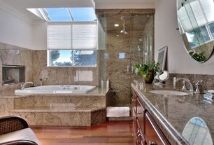 Modern 3/4 Bathroom with Handheld showerhead, Raised panel, Simple granite counters, Rain shower, Simple Granite, Skylight