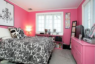 Modern Kids Bedroom with Ralph lauren - seville paisley duvet cover - black-white, Standard height, Carpet, Paint, Casement