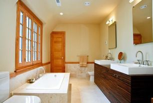 Contemporary Full Bathroom with Wood counters, Vinyl floors, Signature Hardware - AVALON RECTANGULAR VESSEL SINK, Frameless