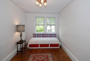 Eclectic Guest Bedroom with Hardwood floors, Carpet, Chandelier