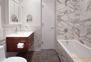 Contemporary Full Bathroom with Simple marble counters, Wall mounted sink, Master bathroom