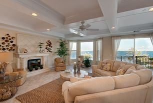 Traditional Living Room with Naturalhomerugs ruby seagrass natural fiber rug, Crown molding, travertine floors, Ceiling fan