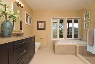 Modern Full Bathroom with frameless showerdoor, Complex Marble, Complex marble counters, Flat panel cabinets, Undermount sink
