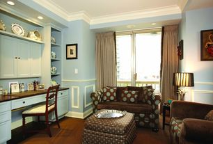 Traditional Home Office with Art desk, French doors, Crown molding, Standard height, Wainscotting, can lights