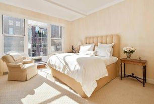 Traditional Guest Bedroom with Glass panel door, Box ceiling, Carpet, French doors, Balcony, Crown molding